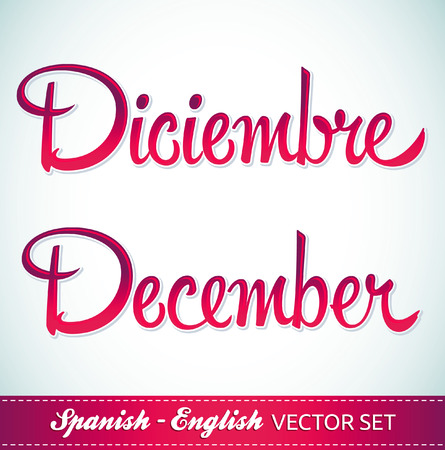 december: Diciembre - December english and spanish lettering - set