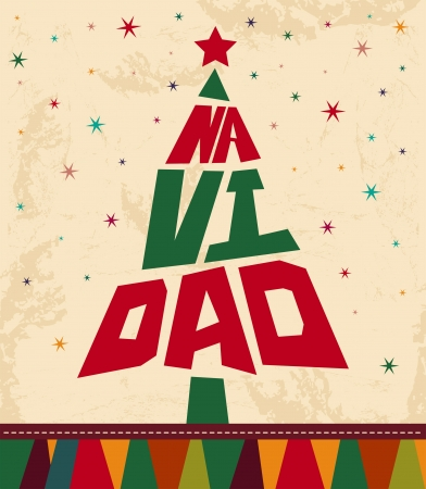 christmas eve: Navidad - Christmas spanish text - tree shape Vintage Christmas card Illustration