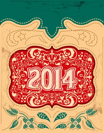2014 New Year holidays design  vector vintage card - western style - Grunge effects can be easily removed  Vector