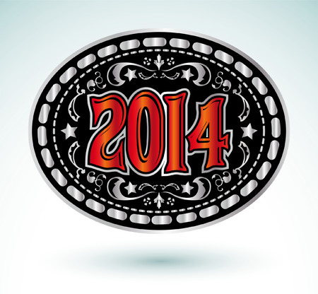 2014 new year Cowboy belt buckle design Vector
