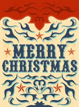 Vintage Christmas Card - western style - Vector  Grunge effects can be easily removed  Vector