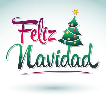 Feliz Navidad - Merry Christmas spanish text - Vector christmas tree