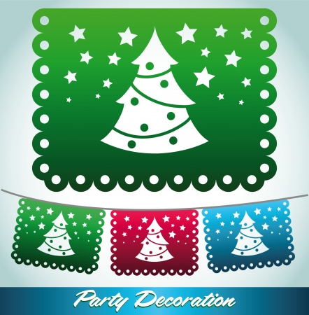 president of mexico: Christmas tree streets decoration - holiday vector decoration Illustration
