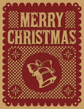 Vintage retro Christmas card - street decoration - vector - Grunge effects can be easily removed