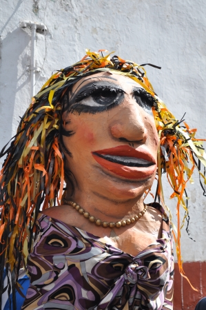 puppetry: Mexican Mojigangas doll - Mojigangas is a large paper puppets - hand painted doll - street decoration Stock Photo