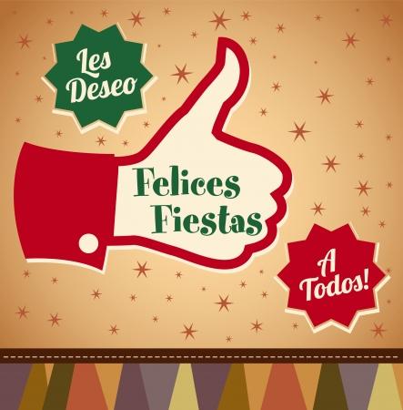 raise the thumb: Felices fiestas - Happy Holidays spanish text - thumbs up