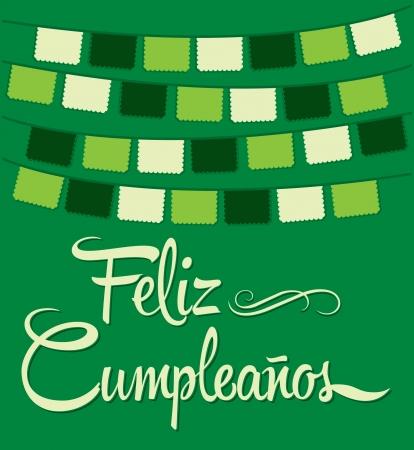 Feliz Cumpleanos - happy birthday spanish text - vector lettering Vector