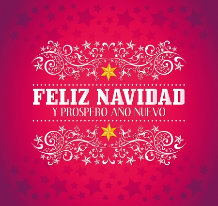feliz navidad y prospero ano nuevo merry christmas and happy new year spanish text card