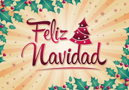 feliz navidad merry christmas spanish text vector christmas tree stock vector 24187832