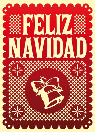 latin americans: Feliz Navidad - Merry Christmas spanish text - Vector card