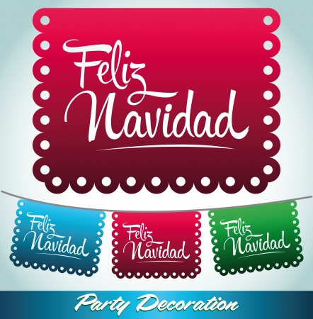 Feliz Navidad - Merry christmas spanish text - holiday vector decoration Vector