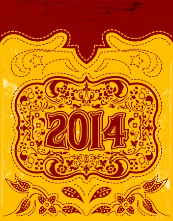 2014 New Year holidays design  vector vintage card - western style - Grunge effects can be easily removed 向量圖像