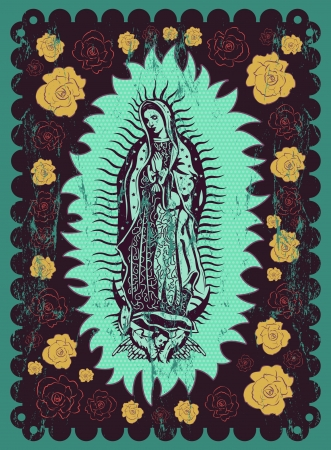 Mexican Virgin of Guadalupe - vintage silkscreen style poster Vector