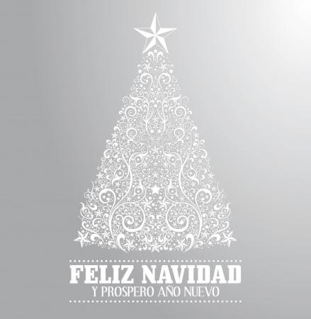 nuevo: Feliz navidad y prospero ano nuevo - merry christmas and happy new year spanish text card - vector - Absrtact Floral Christmas Tree Background