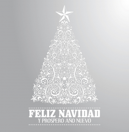 Feliz navidad y prospero ano nuevo - merry christmas and happy new year spanish text card - vector - Absrtact Floral Christmas Tree Background