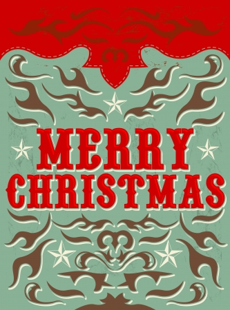 Vintage Christmas Card - western style - Vector  Grunge effects can be easily removed