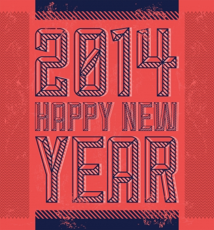 beginnings: Vintage Happy new year 2014 - card - poster Illustration