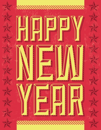beginnings: Vintage Happy new year - card - poster Illustration