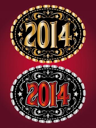 2014 新年カウボーイ ベルト バックル デザイン  イラスト・ベクター素材
