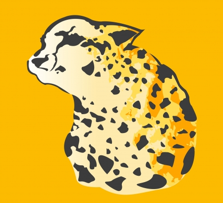 Abstract Color vector line drawing of a Cheetah