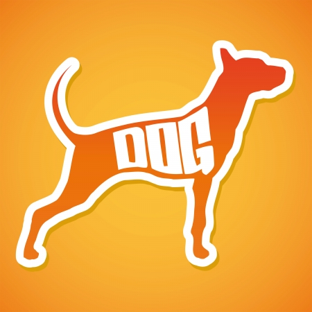 Dog Silhouette Vector - lettering - Peeling Sticker Vector
