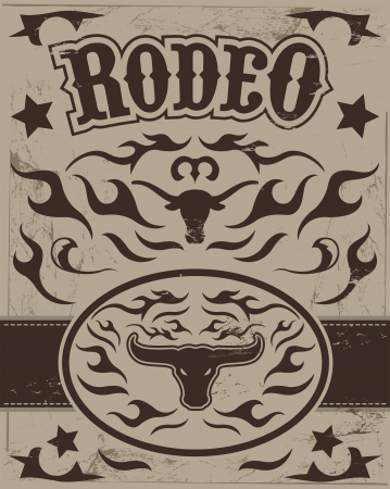 Vintage Rodeo poster - longhorn skull -belt buckle - Text and grunge effect are removable  イラスト・ベクター素材