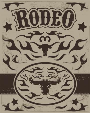 longhorn: Vintage Rodeo poster - longhorn skull -belt buckle - Text and grunge effect are removable Illustration