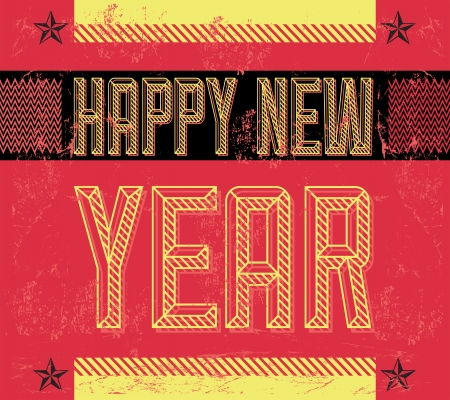 beginnings: Grunge Happy new year - card - poster - industrial style