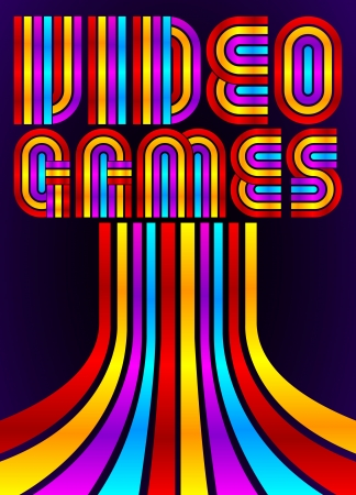Video Games - poster - card - vector lettering - eighties video games style Vector