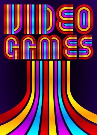 Video Games - poster - kaart - vector belettering - tachtig videospelletjes stijl
