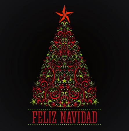 feliz navidad merry christmas spanish text card vector abstract floral christmas tree stock