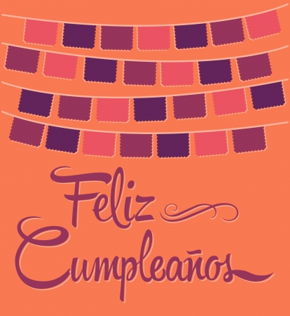 Feliz Cumpleanos - happy birthday spanish text - vector  Vector