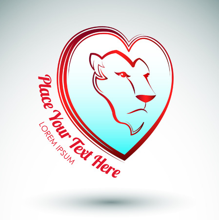 Lion heart icon design - Lion head and love heart Vector