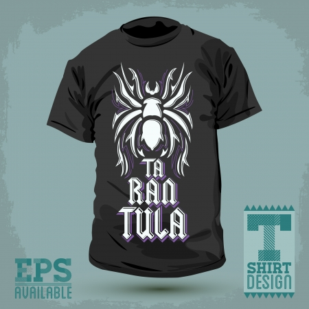 fashion design: Graphic T-shirt design -Tarantula lettering design - vector illustration