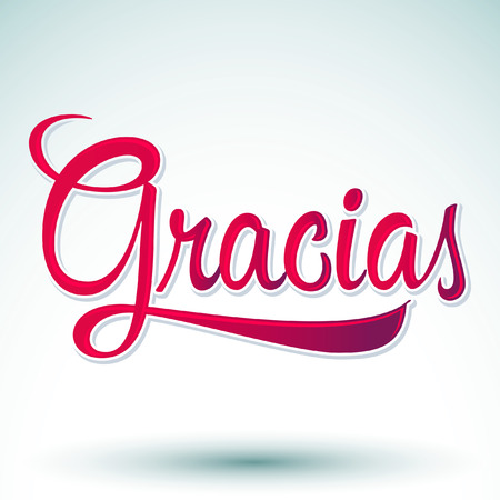 Gracias - THANK YOU spanish text - hand lettering - vector Vettoriali