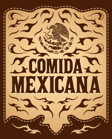 spanish food: Comida Mexicana - Mexican Food Spanish text - Vintage restaurant menu design - old  western style