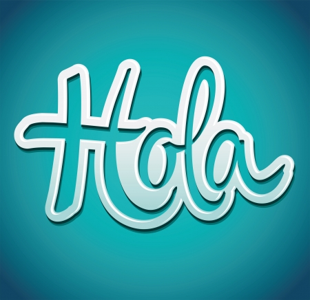 hola: Hola - hello spanist text -  signature cut from paper and pinned - vector illustration