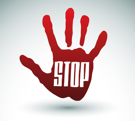 stop hand: Hand raised with stop sign Illustration