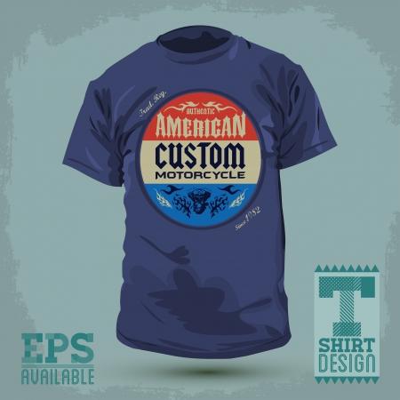 Vintage Graphic T-shirt design - american custom motorcycle badge - Vector illustration - t-shirt print Vector