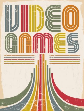 Video Games - vektor nápisy - plakát, karta - osmdesátá léta videohry stylu Ilustrace