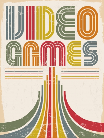 Video Games - vector lettering - poster,  card - eighties video games style