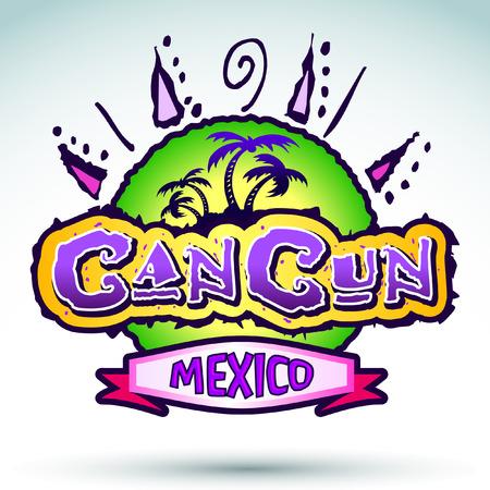 멕시코 칸쿤 - 벡터 배지 - 상징