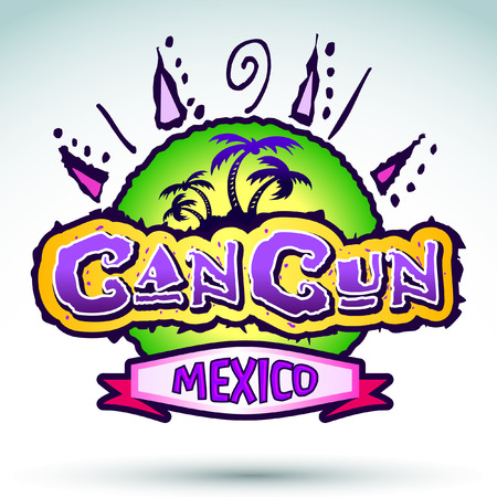 mexico beach: Cancun Mexico - vector badge - emblem