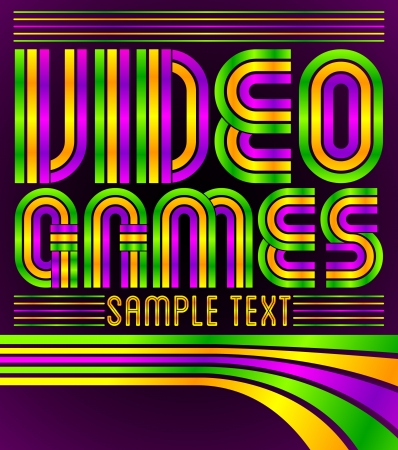 computer clubs: Video Games - vector lettering - eighties video games style