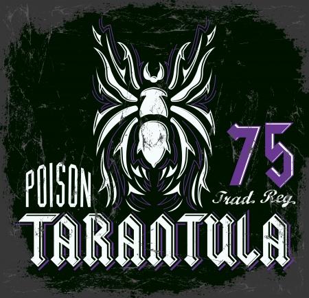 tees: Tarantula vintage lettering design - t shirt print design - vector Illustration