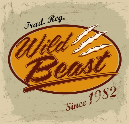 t shirt print: Wild Beast - letras vector vendimia-card - camiseta - dise�o de impresi�n Vectores