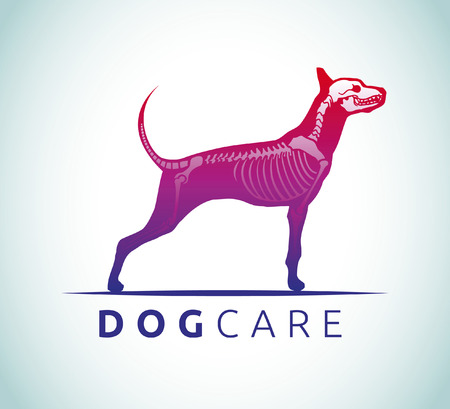 animals x ray: Dog care - Veterinary - Animal Shelter   Rescue - icon Illustration
