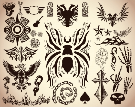 Variety of Tattoo - tribal vector set - collection - elements
