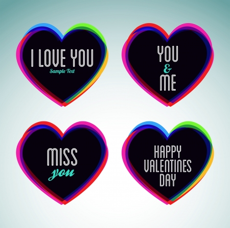set of hearts and love messages - ideal for celebrations, holidays, wedding and valentines day Ilustração