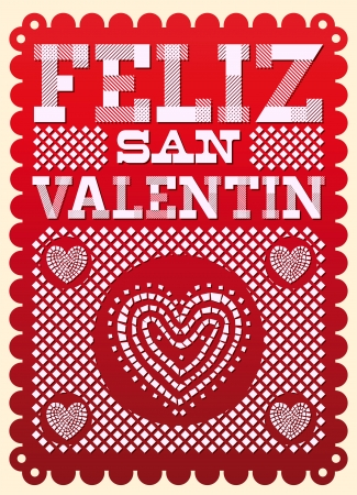 Vintage Feliz San Valentin - Happy Valentines day spanish text - latin decoration
